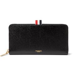 톰 브라운 Thom Browne Grosgrain-Trimmed Pebble-Grain Leather Zip-Around Wallet,Black
