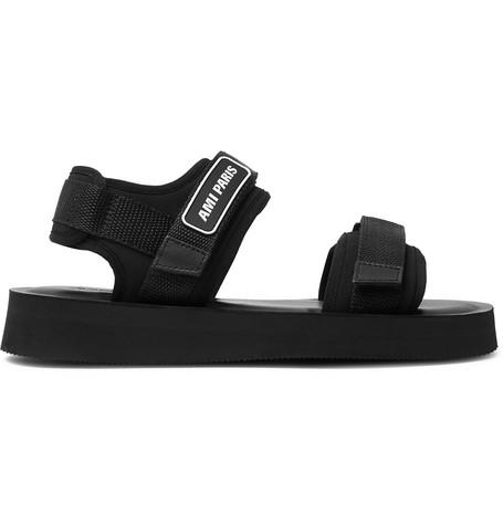 AMI – Logo-detailed Neoprene Sandals – Black