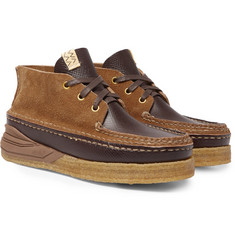 visvim Canoe Moc II Cross-Grain Leather and Suede Boots