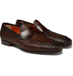 Santoni - Woven Leather Penny Loafers