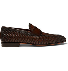 Santoni Woven Leather Penny Loafers