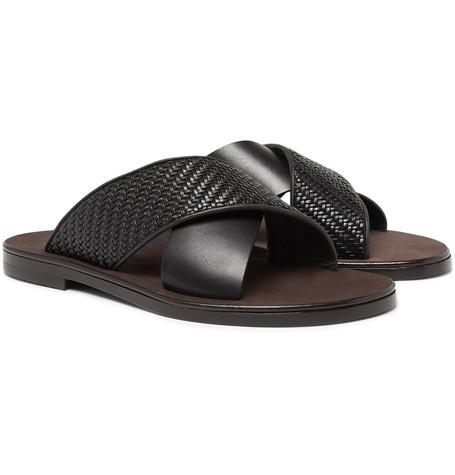9357cc58b459 Ermenegildo Zegna - Rosario Pelle Tessuta Leather Sandals