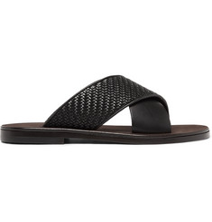 Ermenegildo Zegna Rosario Pelle Tessuta Leather Sandals