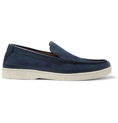 Ermenegildo Zegna Leather-Trimmed Suede Loafers