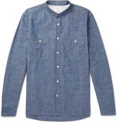 Mr P.-Grandad-Collar Selvedge Cotton-Chambray Shirt