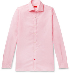 Isaia - Slim-Fit Cutaway-Collar Pinstriped Linen and Cotton-Blend Shirt