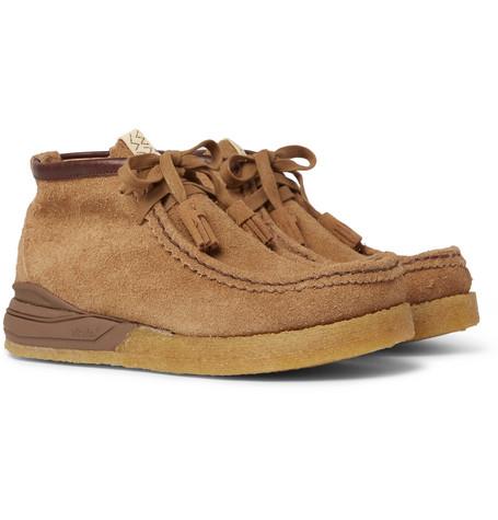 Beuys Trekker Folk Leather Trimmed Suede Boots by Visvim
