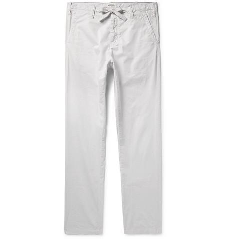 HARTFORD | Hartford - Troy Slim-fit Cotton-chambray Drawstring Trousers - Light gray | Goxip