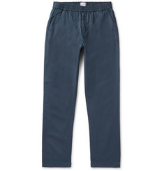 Sunspel Navy Garment-Dyed Cotton-Twill Drawstring Trousers