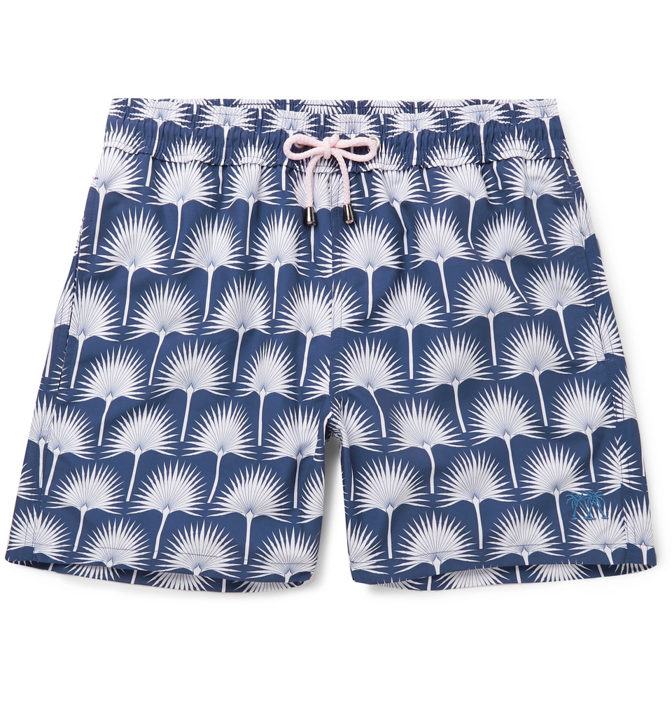 Mid-length Printed Swim Shorts - Navy