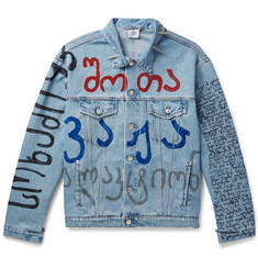 Vetements Oversized Embellished Printed Denim Jacket