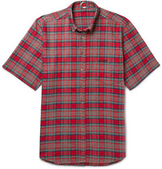 Vetements Oversized Button-Down Collar Checked Cotton-Flannel Shirt