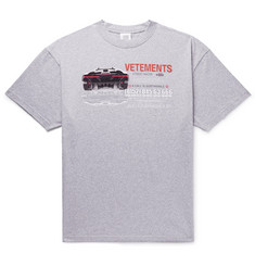 Vetements Oversized Printed Mélange Cotton-Jersey T-Shirt