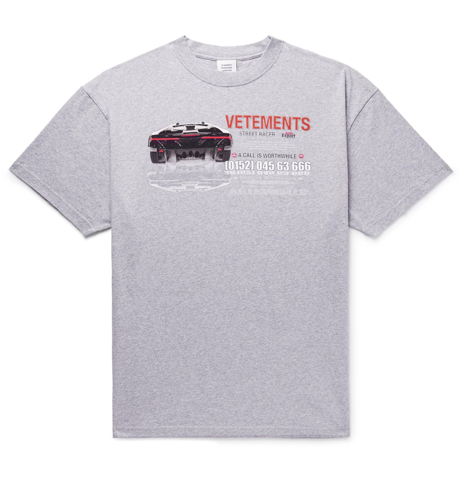 5880d335 Vetements - Oversized Printed Mélange Cotton-Jersey T-Shirt