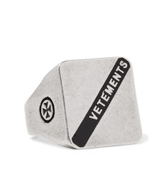 Vetements Logo-Embossed Burnished Silver-Tone Ring
