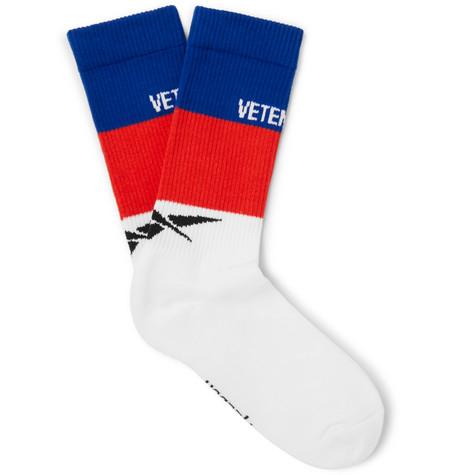VETEMENTS | Vetements - + Reebok Striped Ribbed Stretch Cotton-blend Socks - White | Goxip