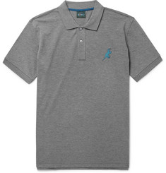 PS by Paul Smith Embroidered Mélange Cotton-Piqué Polo Shirt