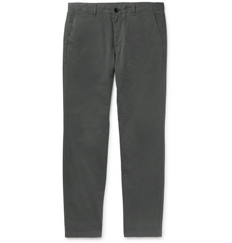 PS BY PAUL SMITH | PS by Paul Smith - Anthracite Slim-fit Brushed Cotton-blend Twill Chinos - Gray | Goxip