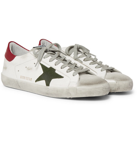 Superstar Distressed Leather And Suede Sneakers - White