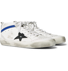 Golden Goose - Mid Star Distressed Leather and Suede Sneakers