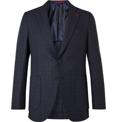 Isaia Navy Slim-Fit Checked Wool-Blend Blazer