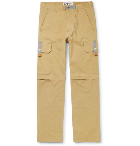 Convertible Leather Trimmed Cotton Canvas Cargo Trousers by Eye/Loewe/Nature
