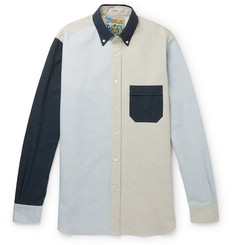 eye/LOEWE/nature Button-Down Collar Panelled Cotton-Blend Oxford Shirt