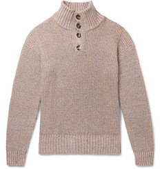 eye/LOEWE/nature Ribbed Mélange Cotton-Blend Henley Sweater