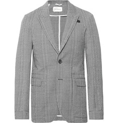 460793c787be Oliver Spencer - Midnight-Blue Brookes Slim-Fit Checked Cotton-Blend  Seersucker Suit