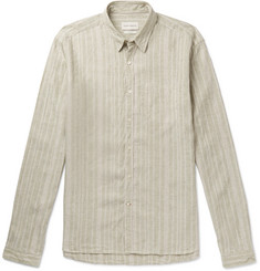 Oliver Spencer New York Striped Organic Cotton and Linen-Blend Shirt