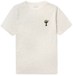 Oliver Spencer Slim-Fit Embroidered Mélange Cotton-Jersey T-Shirt
