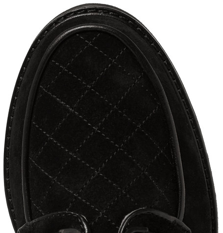 Quilted Suede Derby Shoes - Black