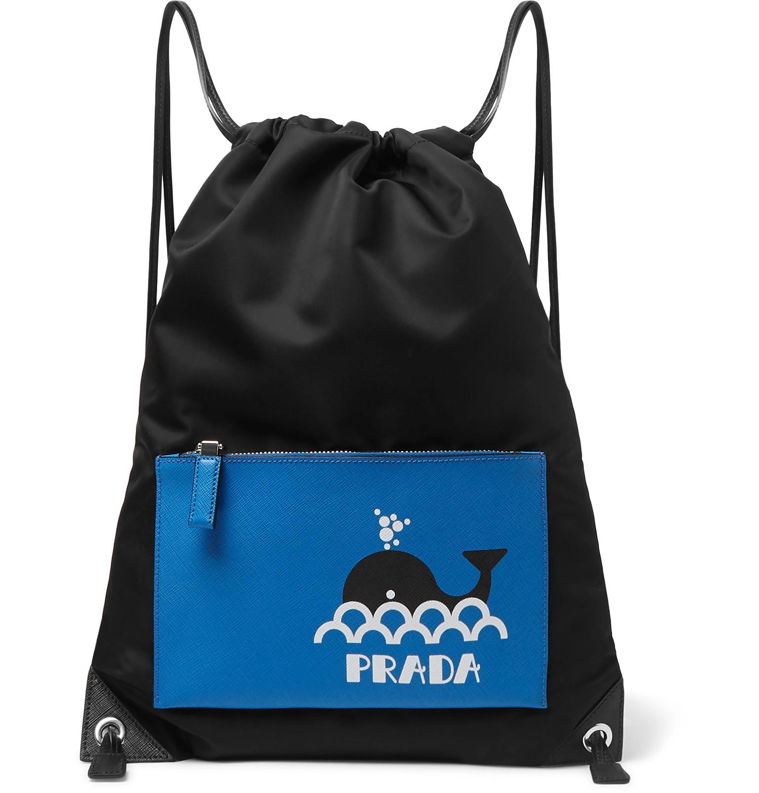 441654deb1eaeb Prada - Printed Saffiano Leather and Nylon Backpack