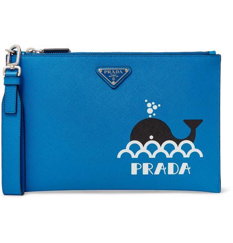 286a627be3f89e Prada - Printed Saffiano Leather Pouch