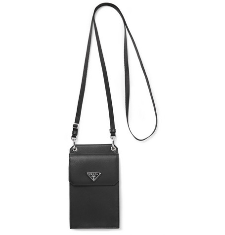 Prada Saffiano Leather Phone Case with Webbing Lanyard