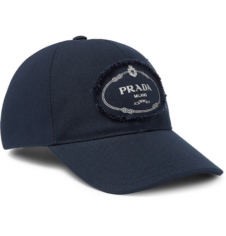 Logo Print Cotton Canvas Baseball Cap by Prada