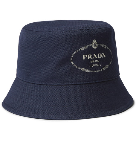Prada Logo-Print Cotton-Canvas Bucket Hat