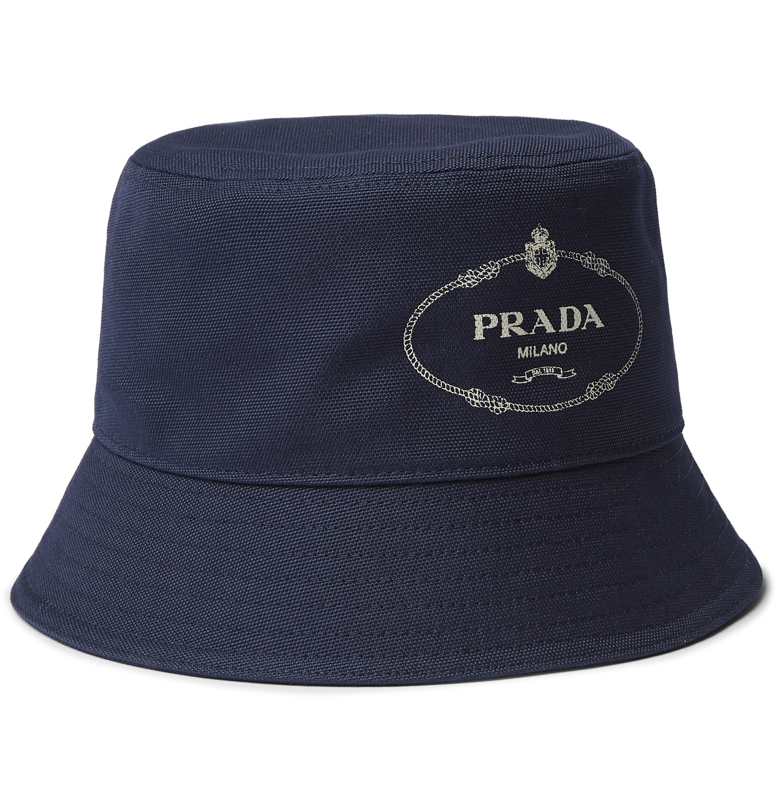 8d15246ea9efa Prada - Logo-Print Cotton-Canvas Bucket Hat