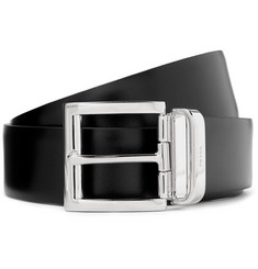 Prada - 3.5cm Black and Midnight-Blue Reversible Leather Belt