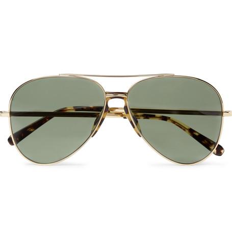 2ea27c7ba0 BrioniAviator-Style Tortoiseshell Acetate-Trimmed Gold-Tone Sunglasses