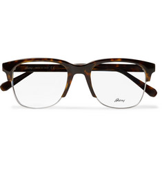Brioni Square-Frame Tortoishell Acetate and Silver-Tone Optical Glasses