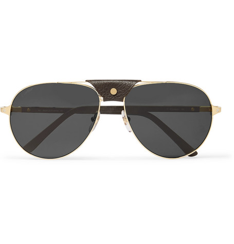 Cartier Eyewear – Aviator-style Leather-trimmed Gold-tone Sunglasses – Gold