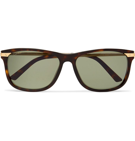 Cartier Eyewear – Santos De Cartier Square-frame Tortoiseshell Acetate And Gold-tone Sunglasses – Brown