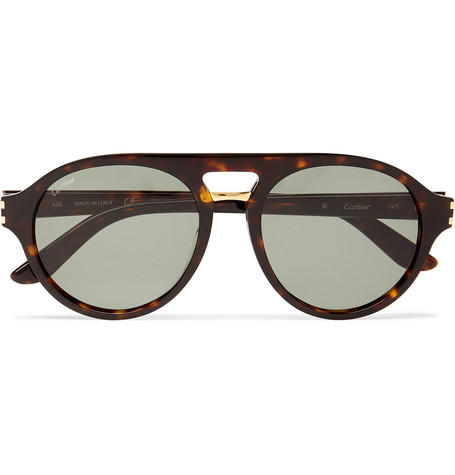 Cartier Eyewear – Aviator-style Tortoiseshell Acetate And Gold-tone Sunglasses – Brown
