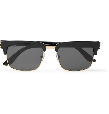 Cartier Eyewear – Square-frame Acetate And Gold-tone Sunglasses – Black