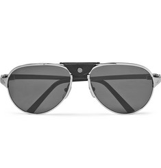 Cartier Eyewear - Santos de Cartier Aviator-Style Leather-Trimmed Silver-Tone Sunglasses