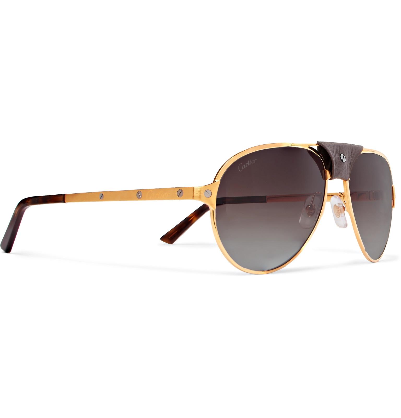 f552cb4a1885 Cartier EyewearSantos de Cartier Aviator-Style Leather-Trimmed Gold-Plated  Sunglasses