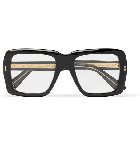 c81e8e06339 Gucci Square-Frame Acetate And Gold-Tone Optical Glasses In Black ...
