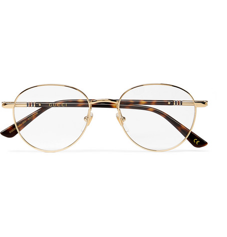 4030d4cfcae GucciRound-Frame Gold-Tone and Tortoiseshell Acetate Optical Glasses