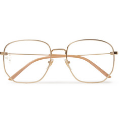 Gucci - Hexagon-Frame Gold-Tone Optical Glasses
